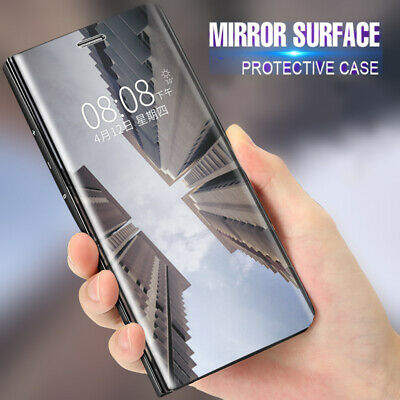 For One Plus 7 Pro 6T 6 5 5T Clear View Mirror Luxury Flip Stand Case Slim Cover