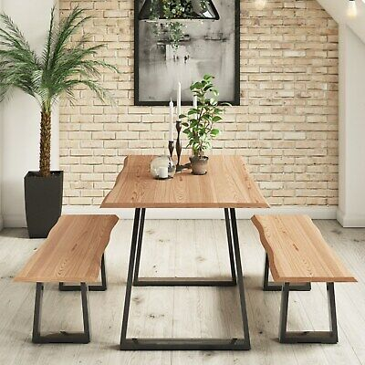 Industrial Dining Table Set in Solid Wood with 2 Dining Benches