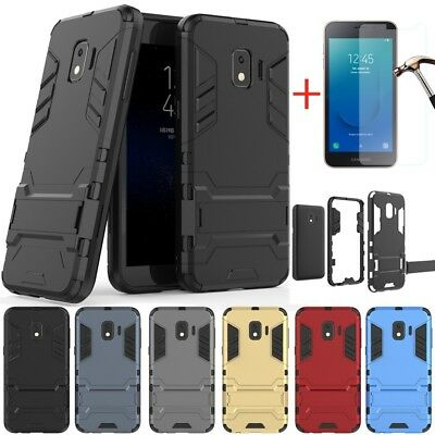 For Samsung Galaxy J2 Core Rugged Armor Kickstand Hard Case Cover+Tempered Glass