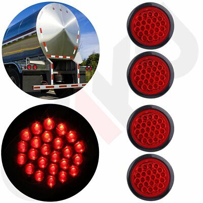 """4x Red 24 LED Stop Turn Tail Brake 4"""" Round Lights for Kenworth Peterbilt Rubber"""