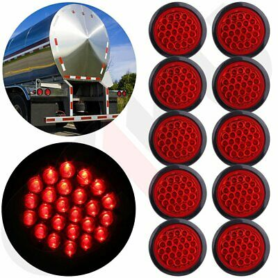 """10x Red 24LED Stop Turn Tail Brake 4"""" Round Lights for Kenworth Peterbilt Rubber"""