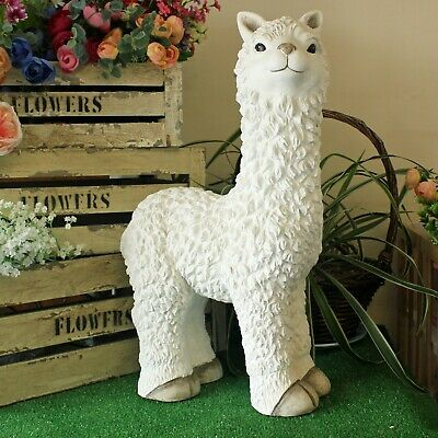 White Llama Rama Garden Statue Outdoor Lawn Figure Zoo Animal Ornament Novelty