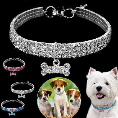 1X NEW Pet Dog Cat Bone Pendant Necklace Collar Crystal Puppy Neck Chain Diamond