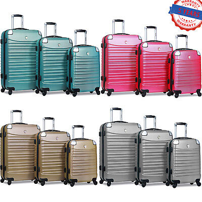 Dejuno 3-Piece Luggage Sets Cover Protector Hard Shell Luggage Spinner Wheels