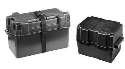 Black Leisure Battery Box with Hold Down Strap Caravan Camper Motorhome
