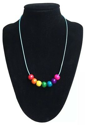 Rainbow Multi Coloured Wooden Beaded Necklace On Turquoise Cord + Gift Bag