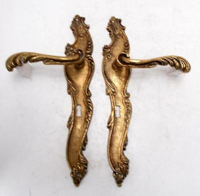 2nd Pair Stylish Vintage French Solid Brass Rococo Door Finger Plates & Handles