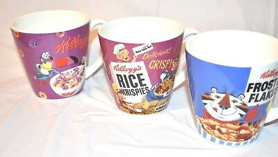 3 Vintage Kellogg's Cereal Coffee Mugs, Fruit Loops, Frosted Flakes, Rice Krispi