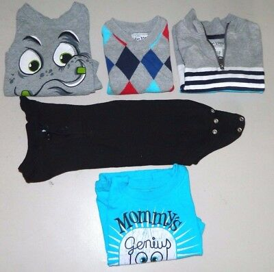 Baby Boys Size 12 Mo. Lot Of 5 Long Sleeve Shirts / Sweater