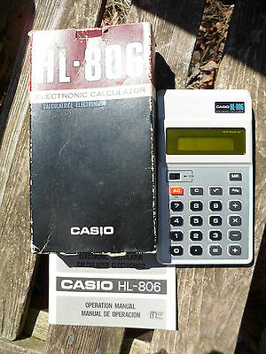 Vintage 1979 LCD Electronic Calculator Silver Casio HL-806 w/ Box & Instructions