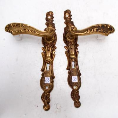 2nd Pair of Stylish Vintage French Solid Brass Door Finger Plates & Handles #2