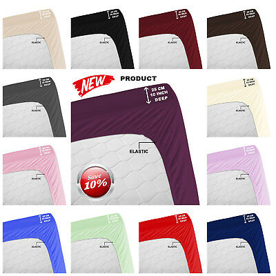 Deep Fitted Sheets Cotton Blend Bed Sheets For Mattress Single Double King Size