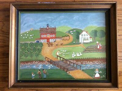American folk art oil on canvas vintage oil painting