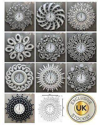 Diamante Beaded Jewelled Modern Sunflower Plastic Spiked Wall Clock 55Cm X 55Cm