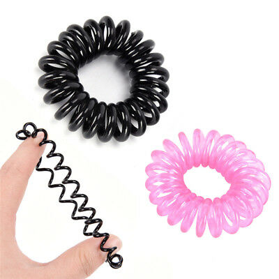 12X Candy Color Elastic Telephone Wire Cord Head Ties Hair Band Rope Ponytail ME