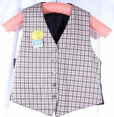 VTG 70's Plaid Polyester Western Rodeo Reversible Vest Size 46 Browns Tans Reds