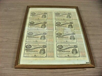 """8 1875~State Of Louisiana $5 Dollar """"Baby Bond"""" With 4 Coupons Still Attached,"""