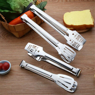 Stainless Steel Salad BreadBuffet Food Tongs Clip Kitchen Utensil 8C