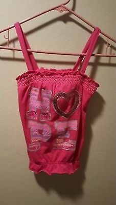 "Justice Girls Hot Pink Sequin ""HOPE"" Smocked Tank-Top Size 10 ""EUC"""