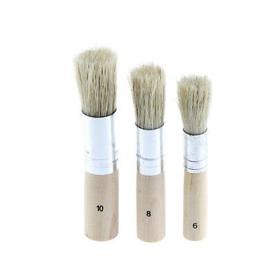 3 Wooden Stencil Brush Hog Bristle Brushes Acrylic Watercolor Oil PaintingLD ME