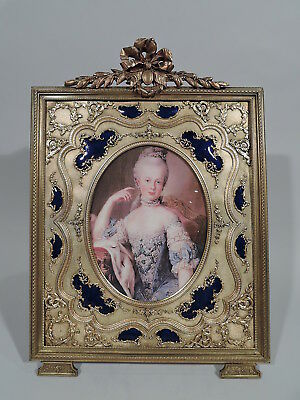 Antique Frame - Rococo Revival Picture Photo - French Gilt Bronze & Blue Enamel