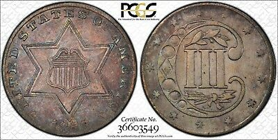 1856 3 Cent Silver PCGS AU Details Certified Beautiful Toning - ZRP