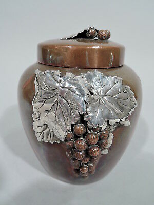Gorham Tea Caddy - Y160 - Antique Japonesque - American Mixed Metal on Copper