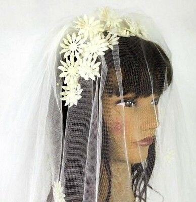 Vintage Chiffon Lace Embroidered Wedding Veil Headpiece Bridal Long Train White