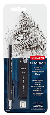 Derwent 0.7 mm Precision Mechanical Pencil, HB Leads and Erasers Included,