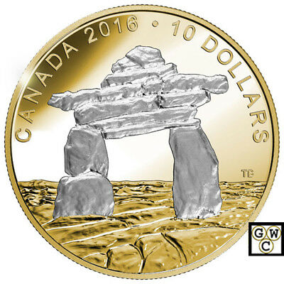 2016 'Inukshuk - Iconic Canada' Proof $10 Silver Coin 1/2oz .9999 Fine(17651)NT