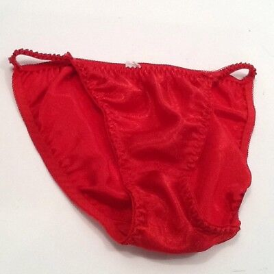 af6405b25e VTG String Bikini Panties Victorias Secret  RED Silky Sexy Size Extra Large