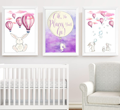 Rabbit Girls Nursery Print Set Of 3, Lilac Kids Room Decor pictures posters Art