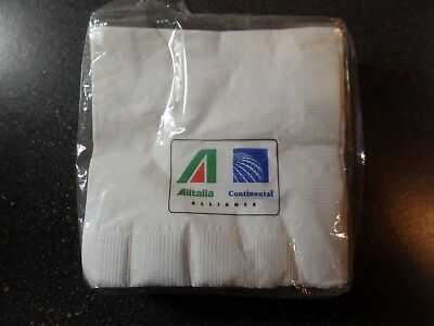 Continental/Alitalia codeshare Airlines Napkins   napkins sealed pack of 50