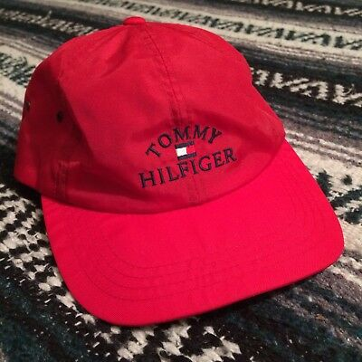 VTG 90s Tommy Hilfiger Spell Out Flag Nylon Strapback Hat Red Cap  Embroidered b5a623adea4a