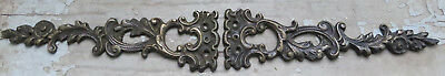 PAIR Antique CAST BRONZE not iron Ornate Roses Onlay Appliques Ornaments Ormolu