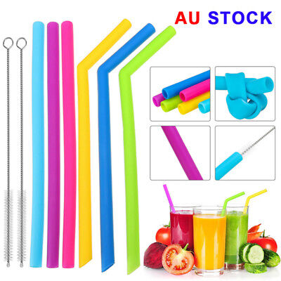 6X Reusable Food Grade Silicone Drinking Bent Straw Straws + 2x Brushes AU New