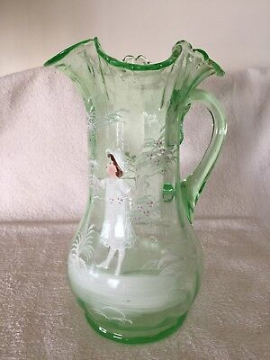 Very Large Mary Gregory Uranium Glass Ewer, 27cm