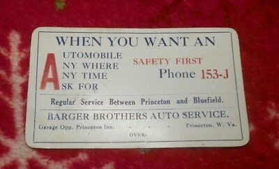 Circa 1930's Barger Brothers Auto Service Business Card, Princeton, WV-Taxi