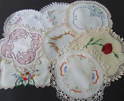 Eight Beautiful Hand Embroidered Vintage Doilies - Various Patterns