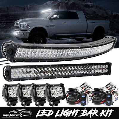 """54inch Curved LED Light Bar +32"""" +4x4"""" Pods CREE Work Lamp Offroad Turck SUV UTE"""
