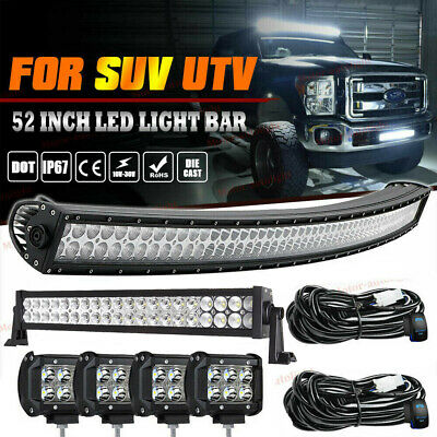 """54Inch LED Light Bar Curved+ 32in+ 4'' Pods Jeep Truck Offroad Combo Driving 52"""""""