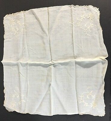 Lovely VIntage White Embroidered Floral Hanky Wedding Handkerchief