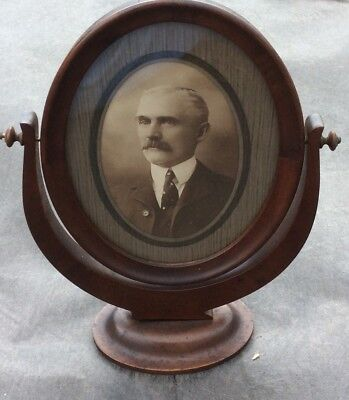 Antique Vintage Oval Wooden Frame with Photo Portrait