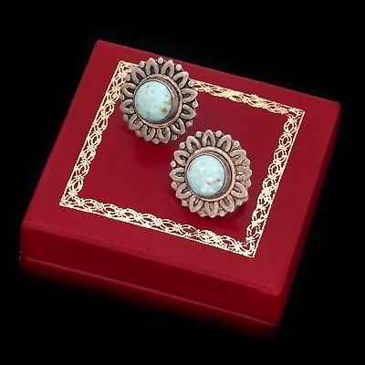 Antique Vintage Deco Retro Sterling Silver Mexico Taxco Greek Turquoise Earrings