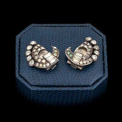 Antique Vintage Deco Sterling Silver Old European Cut Rhinestone Spray Earrings