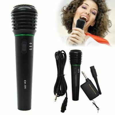 2in1 Pro Wireless Cordless Microphone Wired Professional DJ Singing Karaoke Mic