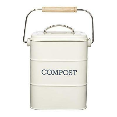 KitchenCraft Living Nostalgia Metal Kitchen Compost Bin, 16 x 12 x 24 cm - Antiq
