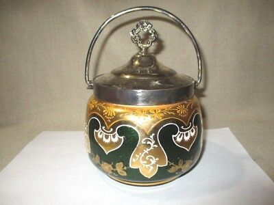 Antique Glass Biscuit Jar Green Galaxy Cased Glass Gold Byzantine Painted Design