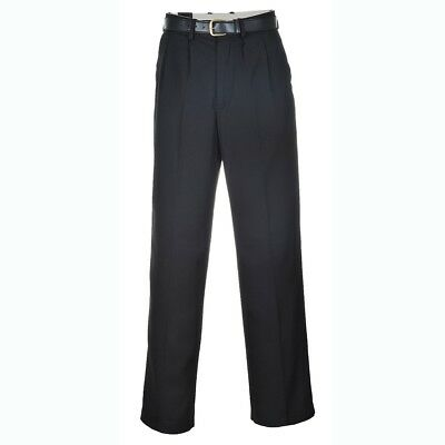 "Portwest S710 London black polyviscose trousers - 28""-46"" waist - reg or tall"