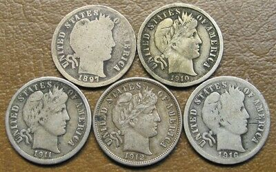 Lot Of Five (5) Barber Dimes, 1897 To 1916-S